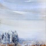 Z cyklu Wędrówki - W stronę błękitu, 2009, technika własna, 21,5 x 20....