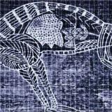 W hołdzie sztuce II - Genaza / A Tribute to Art II - Genesis. 426 / 84 / 10 cm. 1998/2001 © K. Cichosz. Fotoinstalacja. Transparentny wydruk komputerowy - 12 elementów 84 / 140 cm; elementy metalowe