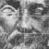 Portrety Hybrydowe / Hybrid Portraits.    9 obiektów 86/84/10 cm.    2001 © K. Cichosz.    Fotoinstalacja. Transparentny wydruk komputerowy - 36 elementów 86/84 cm; elementy metalowe