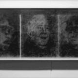 Wielka Trójka / The Great Threesome. 1989. 60 / 152 / 8 cm.© K. Cichosz. Obiekt. Transparentny materiał fotograficzny, elementy metalowe, drewno