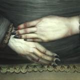 Bez tytułu, 2004 deska, relief w zaprawie kredowej, olej, tipsy , 23,5x59cm.