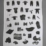 być; mieć, linoryt na pieluszkach tetrowych, 2012