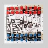 Twój ruch (Specjalna Strefa Sztuki, Nowe Centrum Łodzi), instalacja: stolik, grafika cyfrowa, drewniane klocki, fotografia